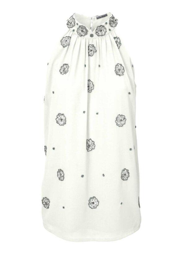 T Shirts ohne Ärmel 082.338 Pailletten-Blusentop, offwhite von Ashley Brooke Grösse 44