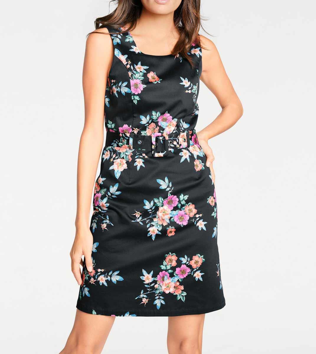 business kleider für damen ASHLEY BROOKE Damen Designer-Optimizer-Etuikleid Schwarz-Bunt 082.413 Missforty
