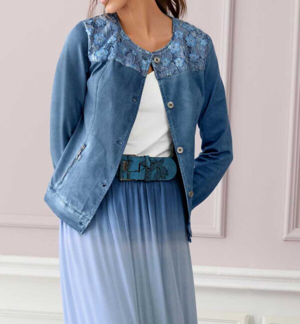 jacken auf rechnung bestellen als neukunde Linea Tesini Damen Designer-Jeansjacke m. Spitze Kurzjacke Denim Stretch 086.099 MISSFORTY