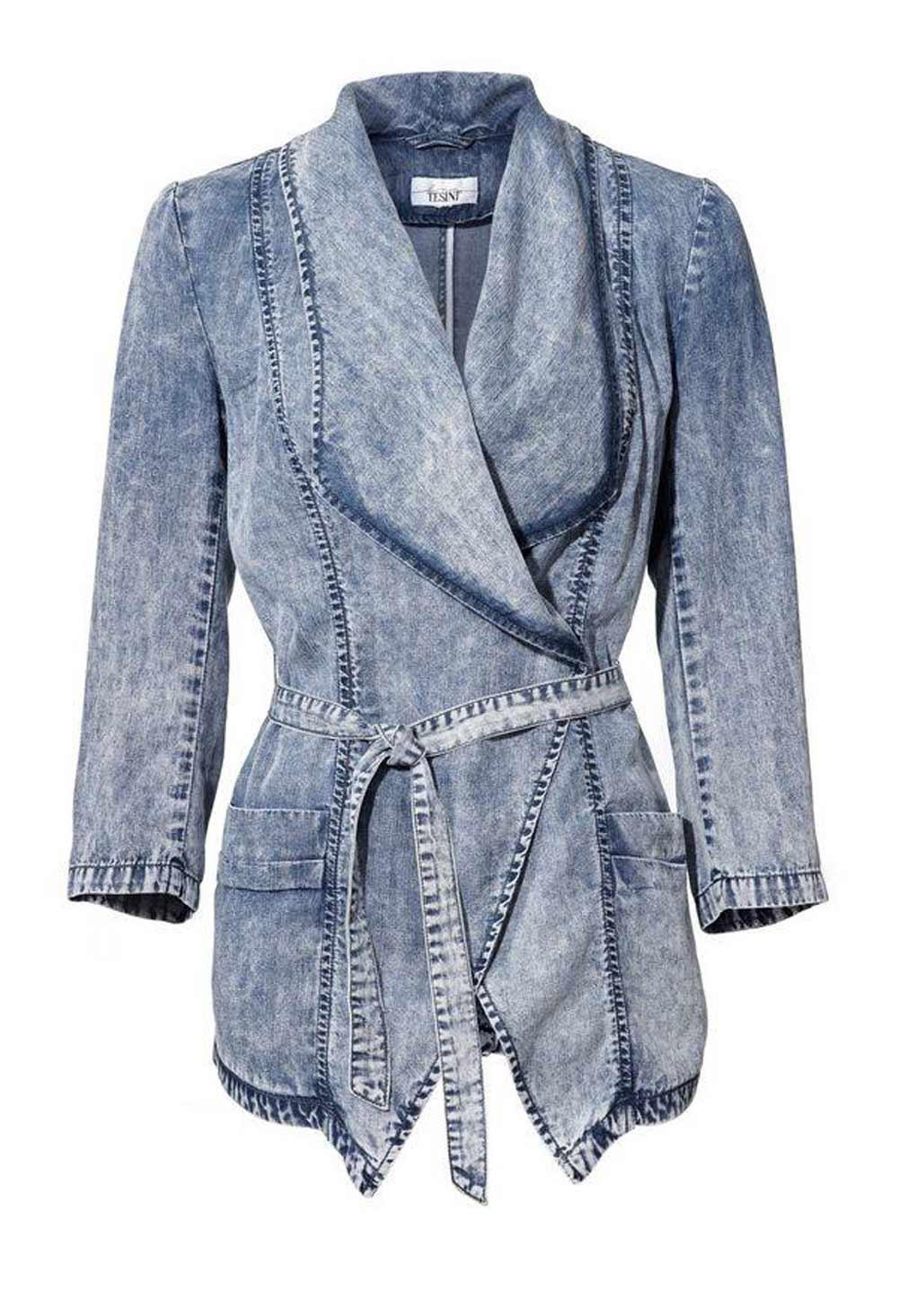 jacken auf rechnung bestellen als neukunde Linea Tesini Designer Damen-Jeansjacke Langjacke Mantel Denim tailliert Gürtel 091.833a MISSFORTY