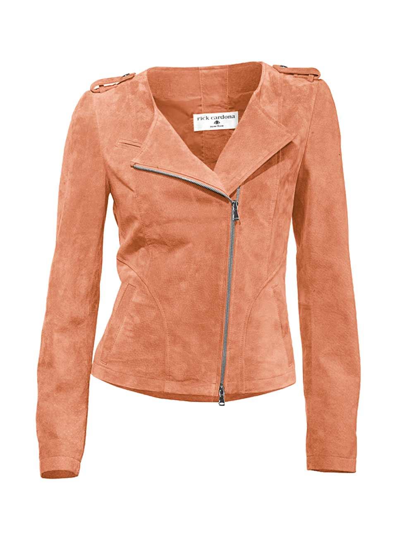jacken auf rechnung bestellen als neukunde RICK CARDONA Damen Designer-Velourslederjacke Apricot Echtleder 094.359 MISSFORTY