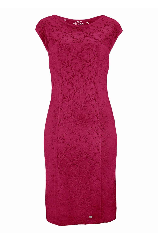 business kleider für damen BRUNO BANANI Damen Marken-Spitzenkleid Transparent Etuikleid Elegant Fuchsia 103.594 Missforty