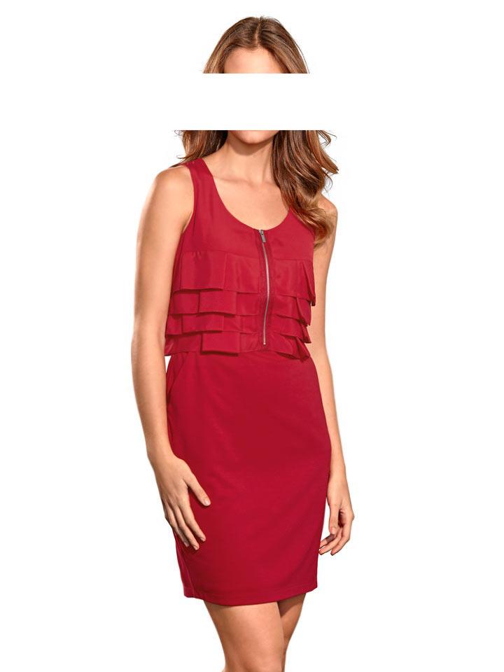 business kleider für damen MANDARIN Damen-Etuikleid m. Chiffon-Volants Rot 105.542 Missforty