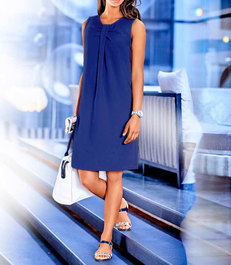 business kleider für damen RICK CARDONA Damen Designer-Etuikleid Azurblau 108.179 Missforty