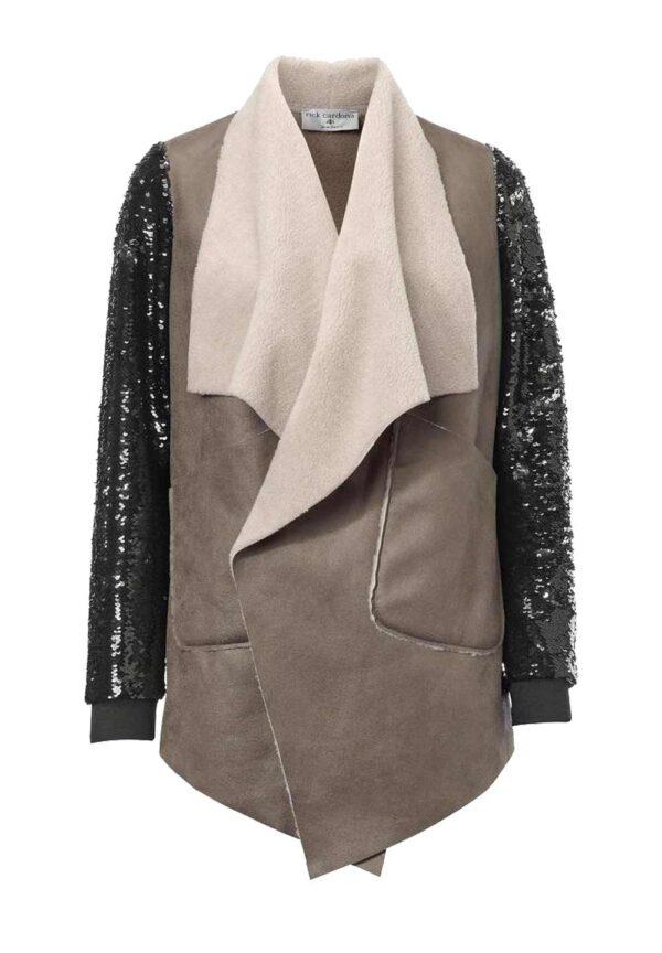 jacken auf rechnung bestellen als neukunde Rick Cardona Designer Damen-Lederimitatjacke Kunstleider Taupe-Schwarz 115.735 MISSFORTY