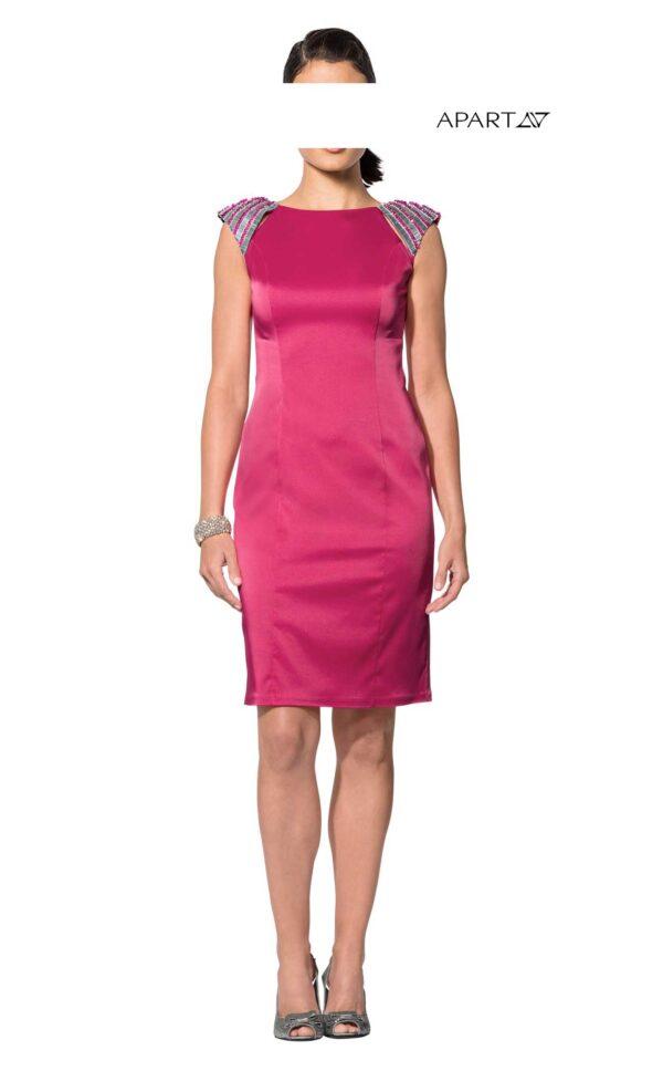 business kleider für damen APART Damen Designer-Satinkleid Etuikleid Stretchkleid Perlen Pink Silber EDEL 121.400 Missforty
