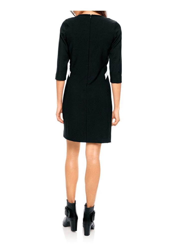 business kleider für damen PATRIZIA DINI Damen Designer-Etuikleid Schwarz-Creme 122.362 Missforty