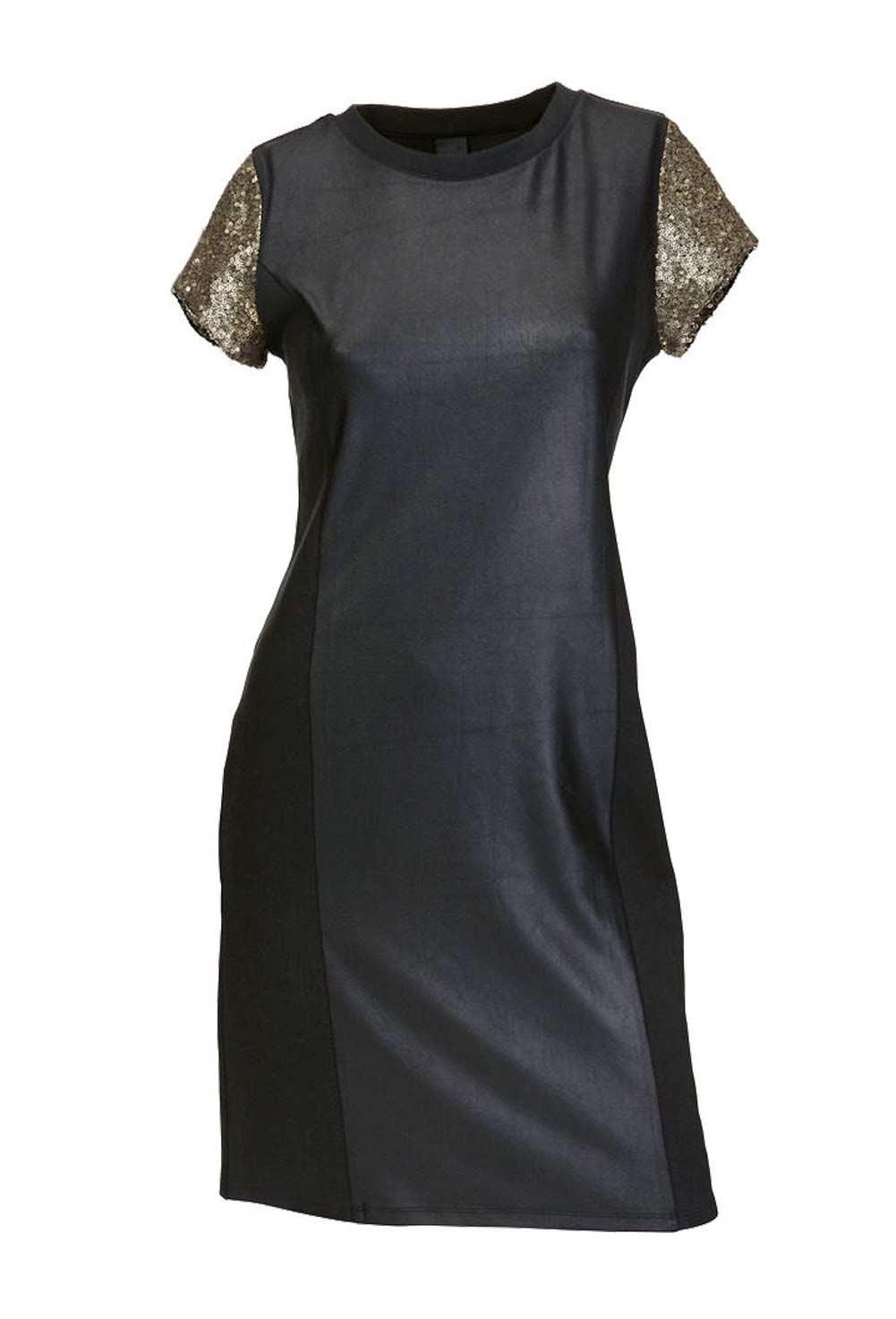 business kleider für damen HEINE Damen Designer-Etuikleid m. Pailletten Schwarz-Gold 122.380 Missforty