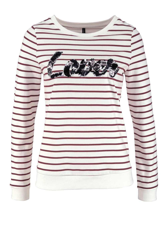 t shirts ohne ärmel VERO MODA Damen Marken-Sweatshirt Weiß-Bordeaux 126.419 Missforty