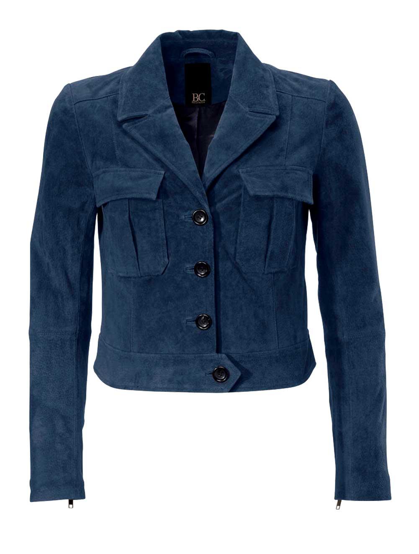 jacken auf rechnung bestellen als neukunde HEINE Damen Designer-Lederjacke Velours Jacke Leder Kurz Marine Dunkelblau 130.885 MISSFORTY