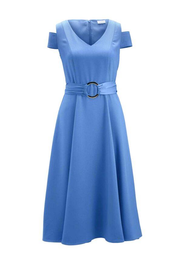 wadenlange kleider für besondere anlässe HEINE Damen Designer-Kleid Gürtel Aqua Cut Out Markenkleid Midikleid hellblau 131.040 missforty