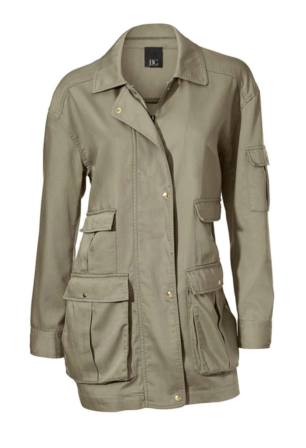 jacken auf rechnung bestellen als neukunde HEINE Damen Designer-Übergangsjacke Outdoor Safaristil Oliv Nieten 132.105 MISSFORTY