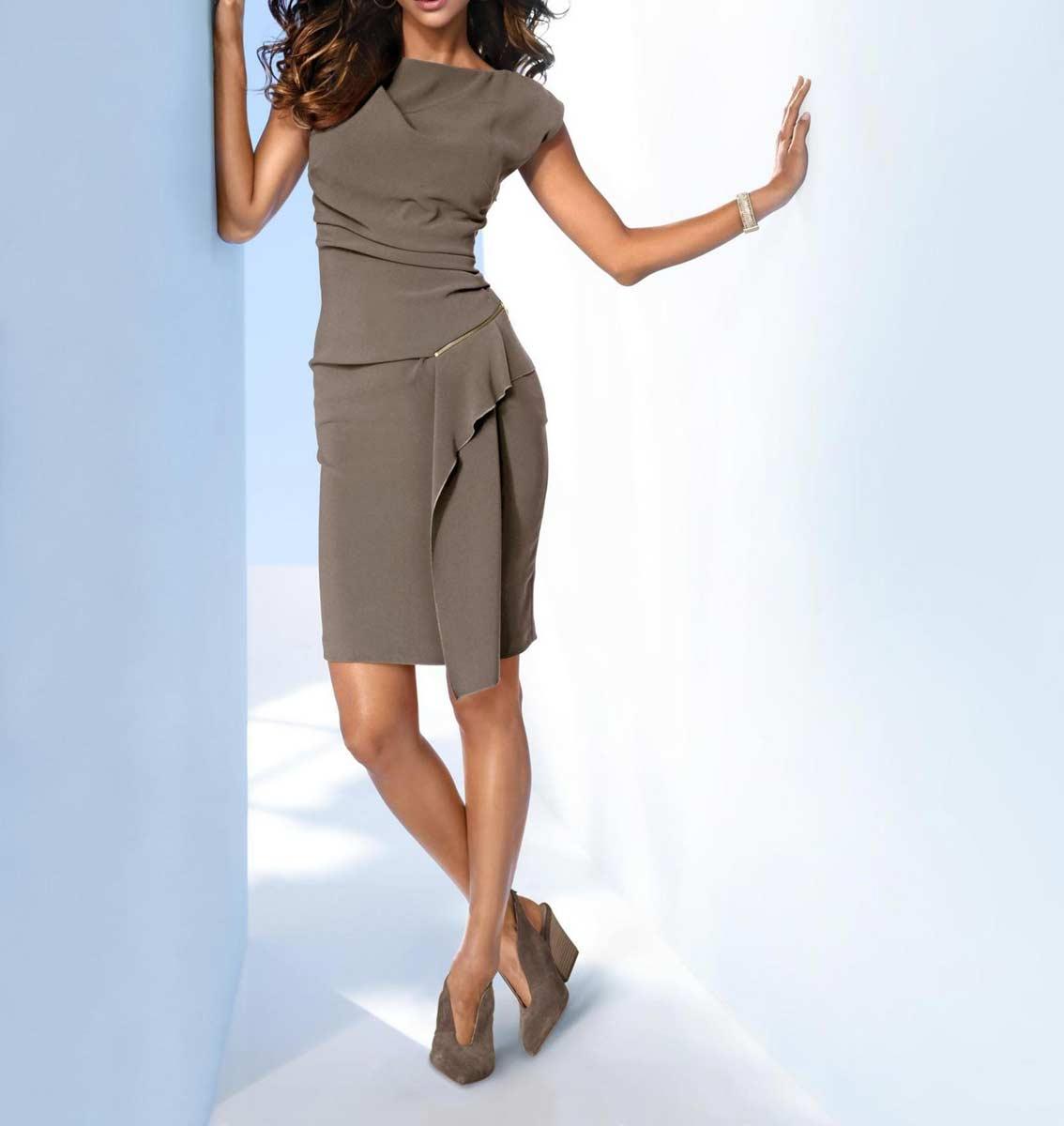 business kleider für damen ASHLEY BROOKE Damen Designer-Etuikleid Taupe 134.853 Missforty