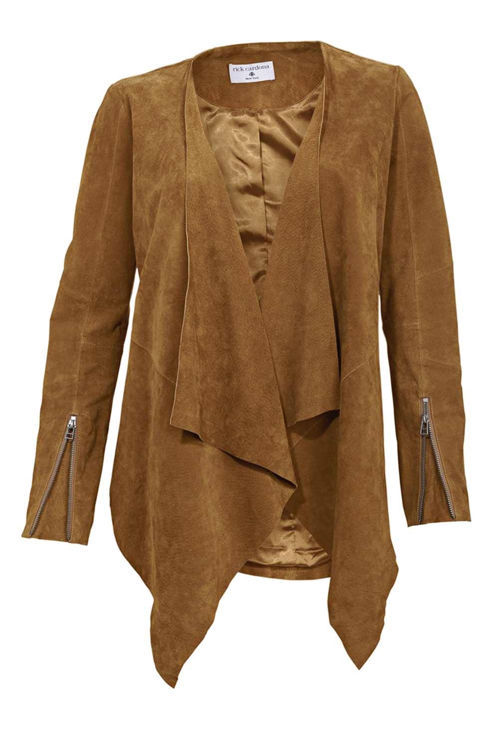 jacken auf rechnung bestellen als neukunde Rick Cardona Damen Designer-Lederjacke Cognac Hellbraun Zipfel Wasserfall 140.000 MISSFORTY