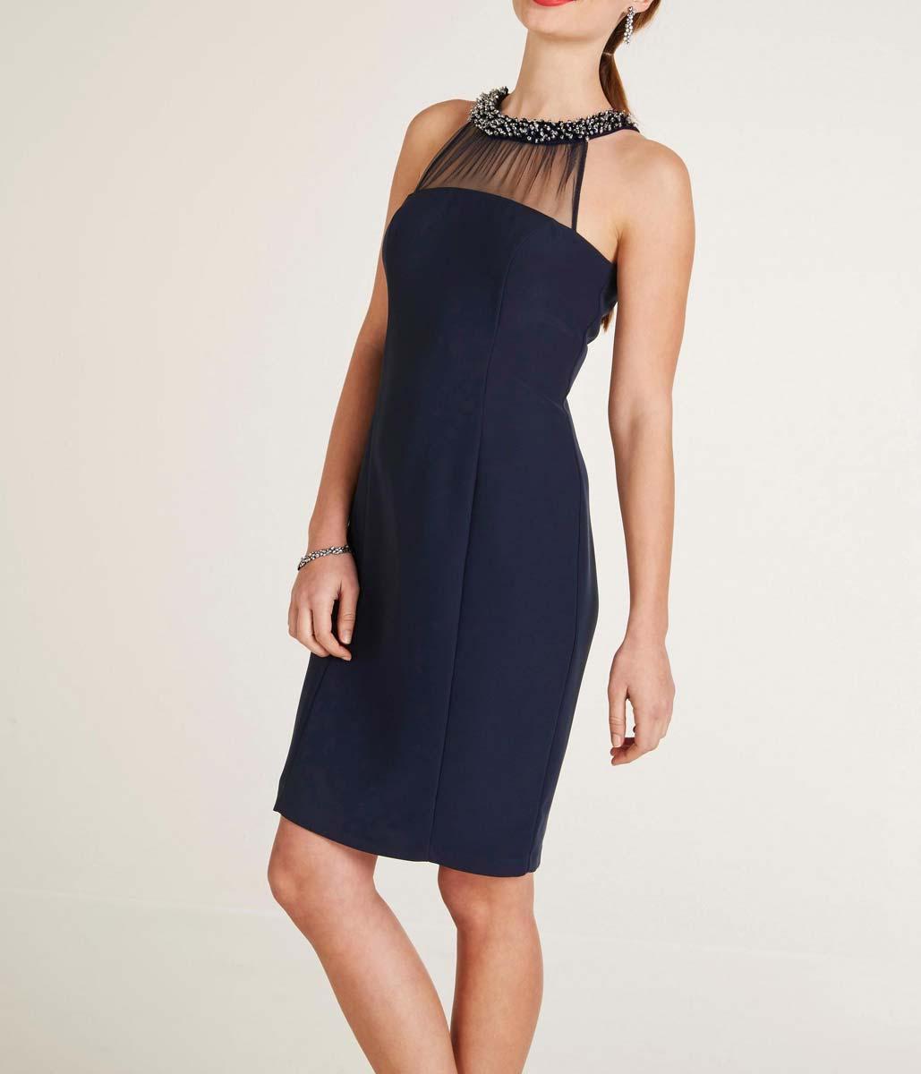 kurzes kleid für besondere anlässe HEINE Damen Designer-Cocktailkleid m. Perlen Nachtblau 144.223 Missforty