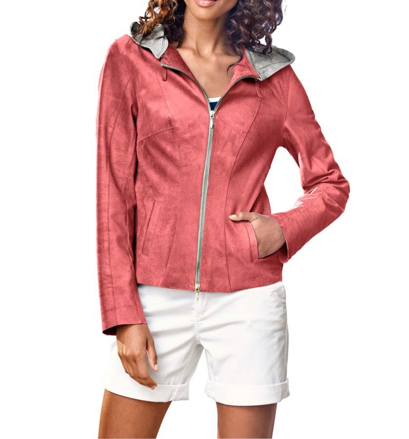 jacken auf rechnung bestellen als neukunde HEINE Damen Designer-HEINE Damen-Lederjacke m. Jerseykapuze Hummer 147.223 MISSFORTY