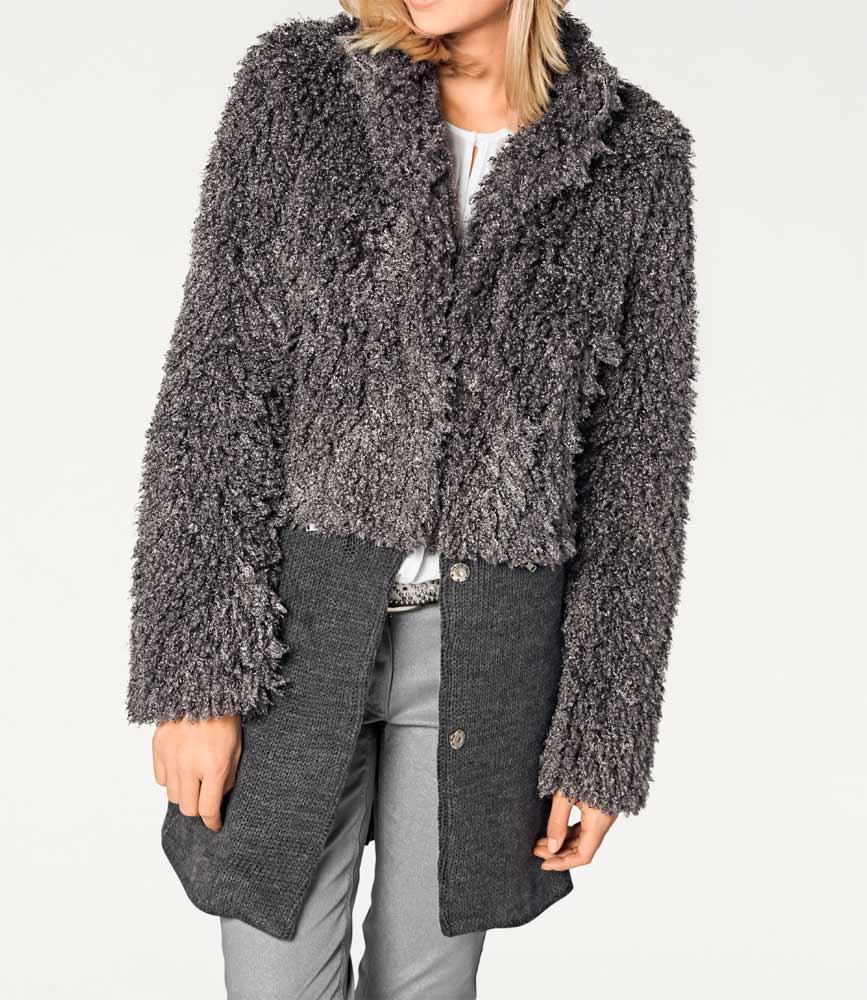Damenmäntel Frühjahr 2021 Rick Cardona Damen Designer-Mantel Fell Grau mit Strickeinsatz 151.171 Missforty