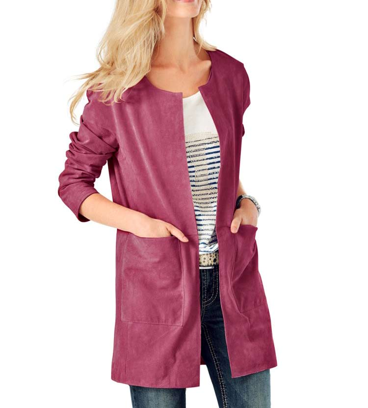 Damenmäntel Frühjahr 2021 HEINE Damen Designer-Ledermantel Leder Longjacke Pink HEINE - Best Connections 155.420 Missforty