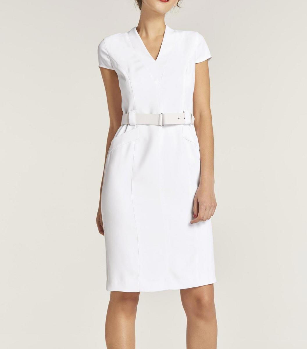 business kleider für damen HEINE Designer-Etuikleid Halbarm V-Ausschnitt Weiss Festlich Hochzeit Business 161.084 Missforty
