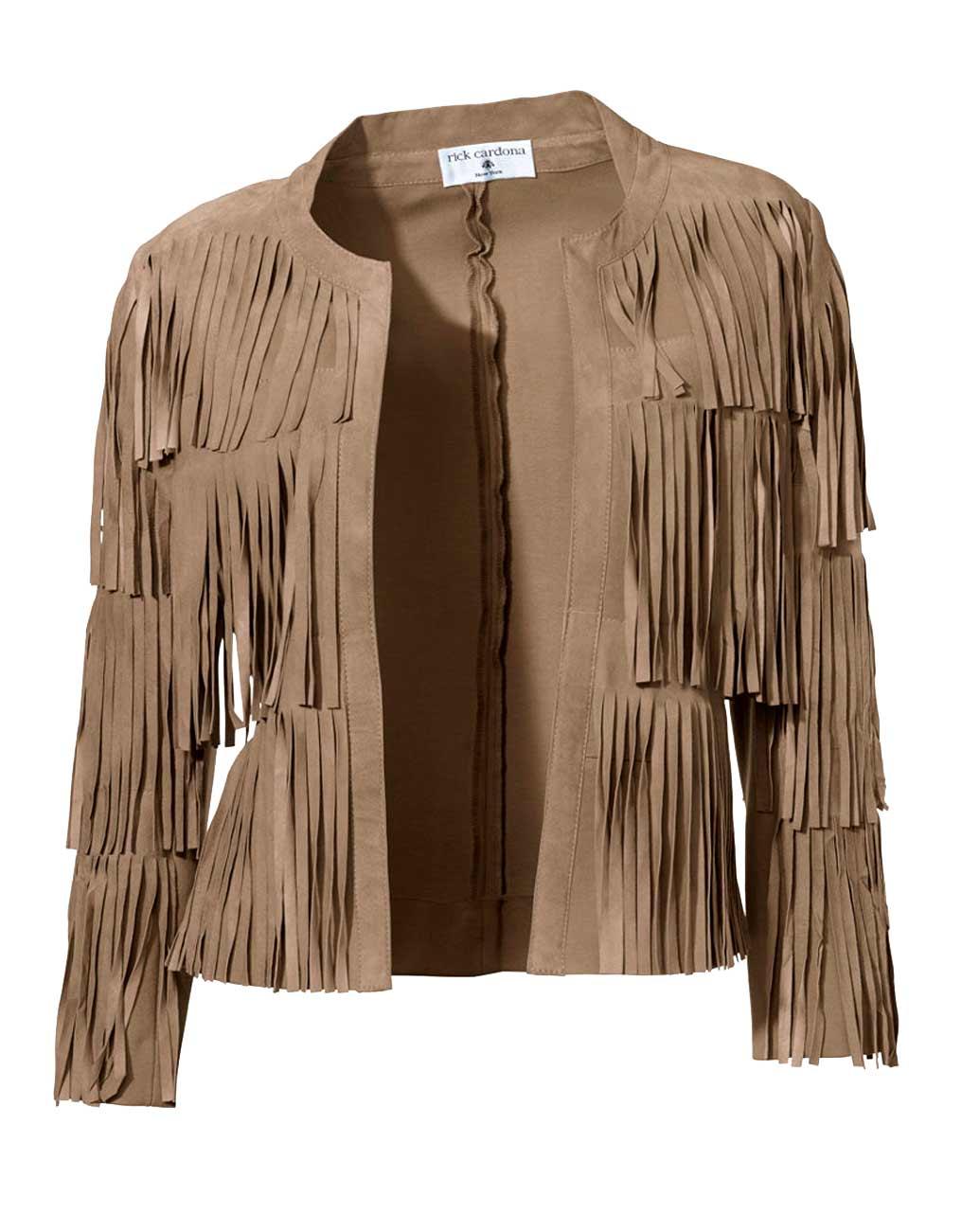 jacken auf rechnung bestellen als neukunde Rick Cardona Designer Damen-Fransenvelourslederjacke Lederacke Braun Cognac 175.304 MISSFORTY