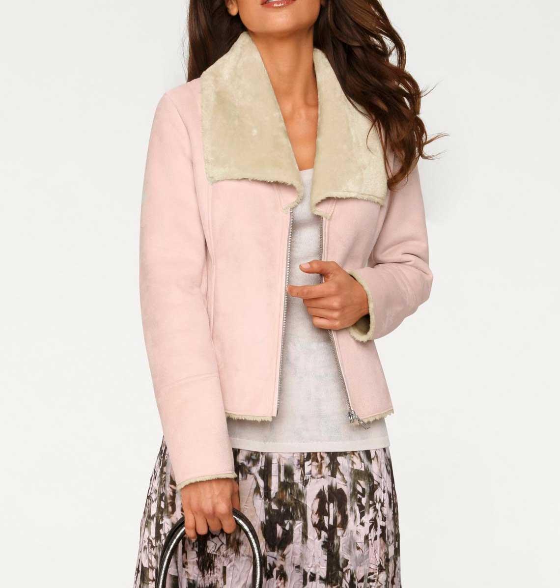 jacken auf rechnung bestellen als neukunde ASHLEY BROOKE Damen Designer-Jacke Lammfell Look Lederimitat Webpelz Rosa-Creme 179.820 MISSFORTY