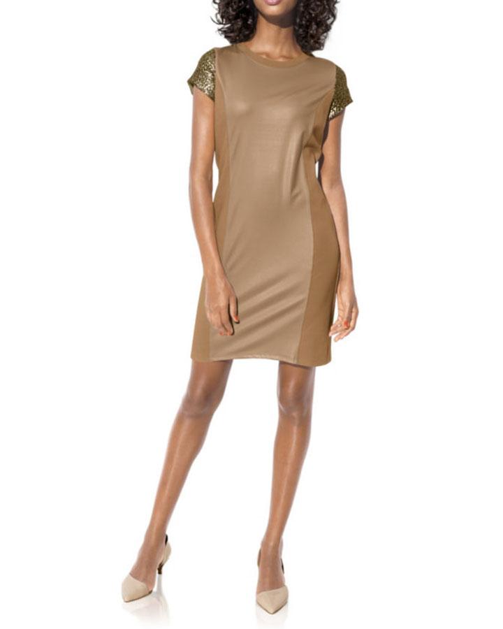business kleider für damen HEINE Damen Designer-Etuikleid m. Pailletten Camel-Gold 190.248 Missforty