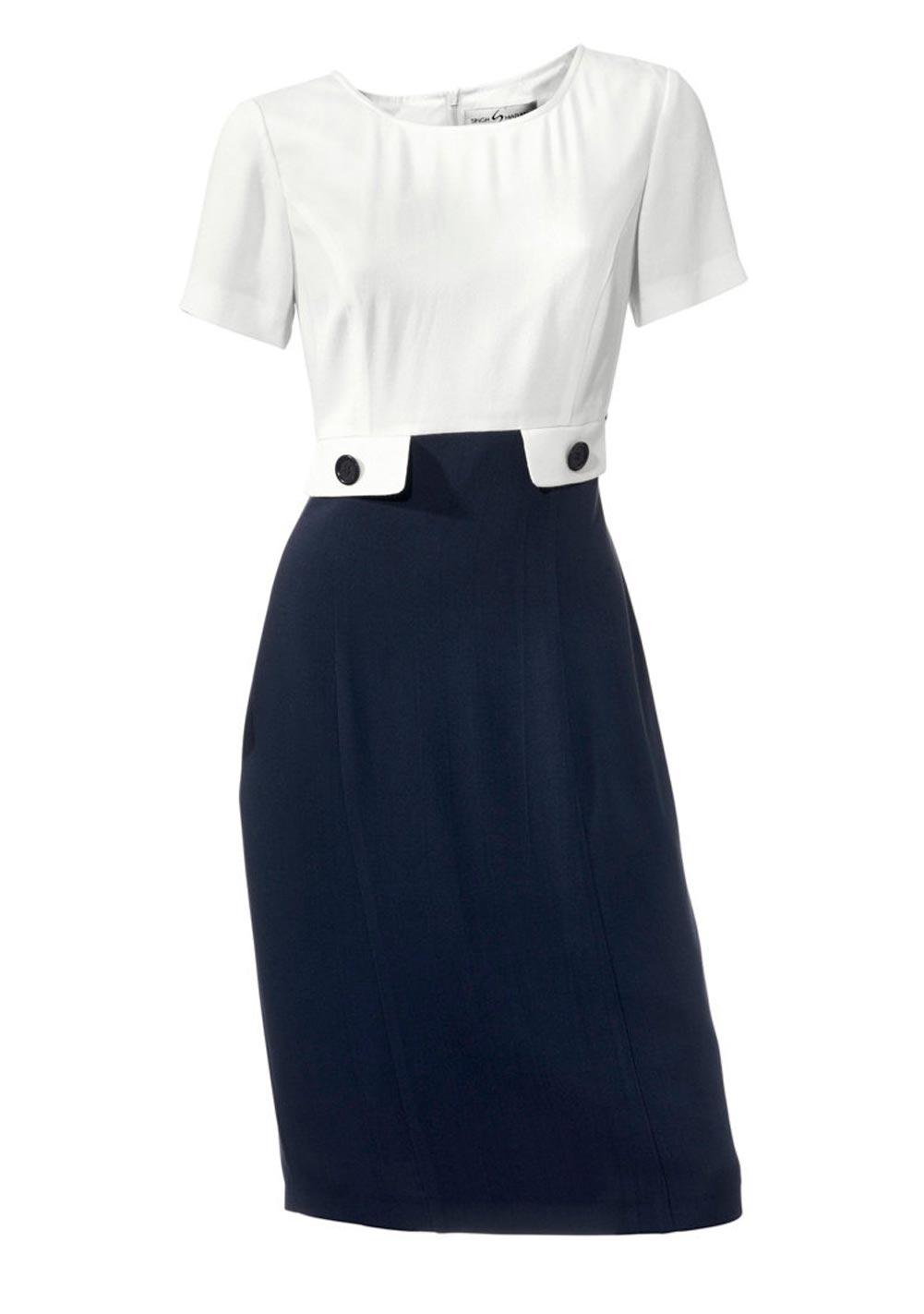business kleider für damen S. MADAN Damen-Etuikleid Marine-Weiß 193.436 Missforty