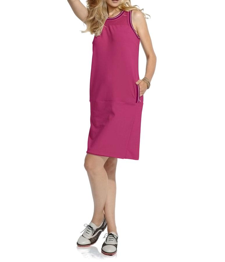 business kleider für damen HEINE Damen Designer-Etuikleid Fuchsia-Weiß 196.587 Missforty