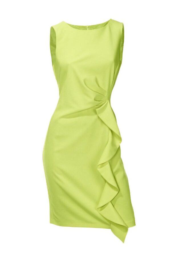 business kleider für damen PATRIZIA DINI Damen Designer-Etuikleid m. Volant Limette 197.216 Missforty