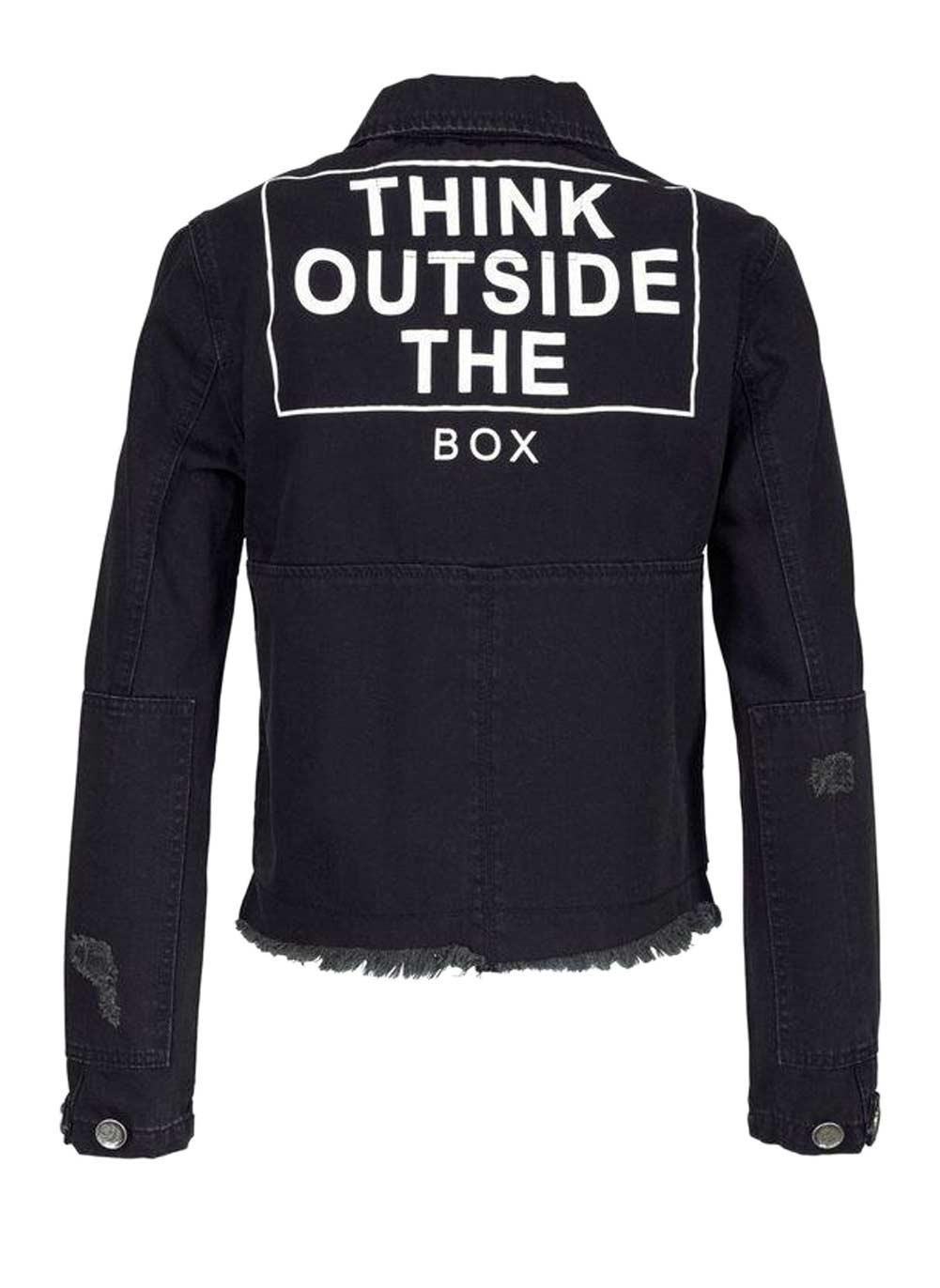 jacken auf rechnung bestellen als neukunde AJC Damen-Jeansjacke Buttons Denim Schwarz Think Outside the Box 208.196 MISSFORTY