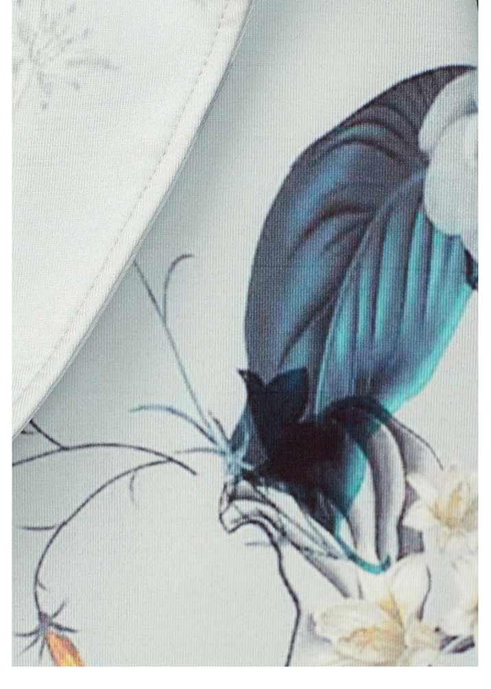 Damenmäntel Frühjahr 2021 LAURA SCOTT Damen-Jersey-Mantel Grau-Bunt Blumenmuster Blüten 230.862 Missforty