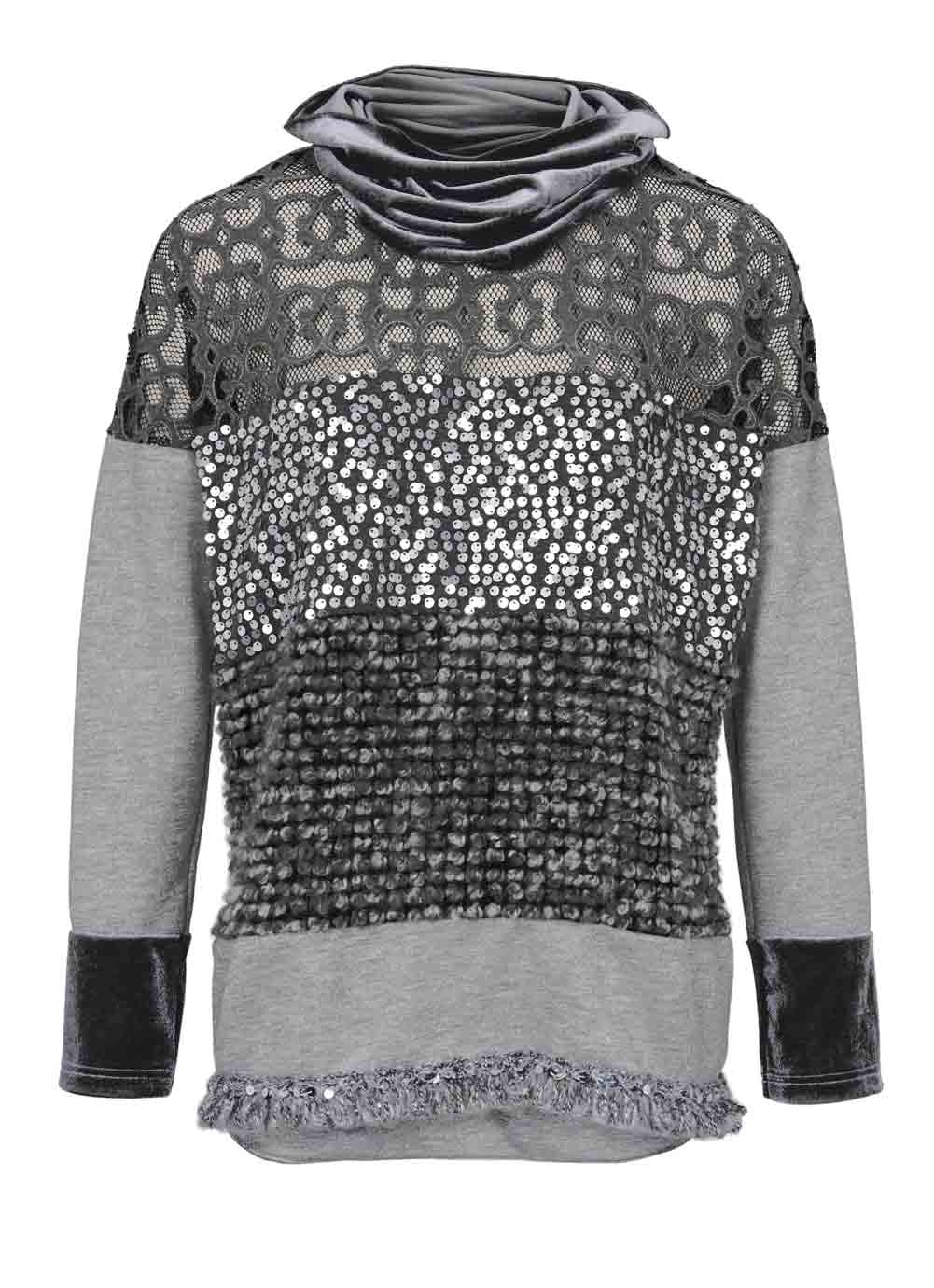 t shirts ohne ärmel HEINE Damen Designer-Sweatshirt m. Samtschal Grau 234.395 Missforty