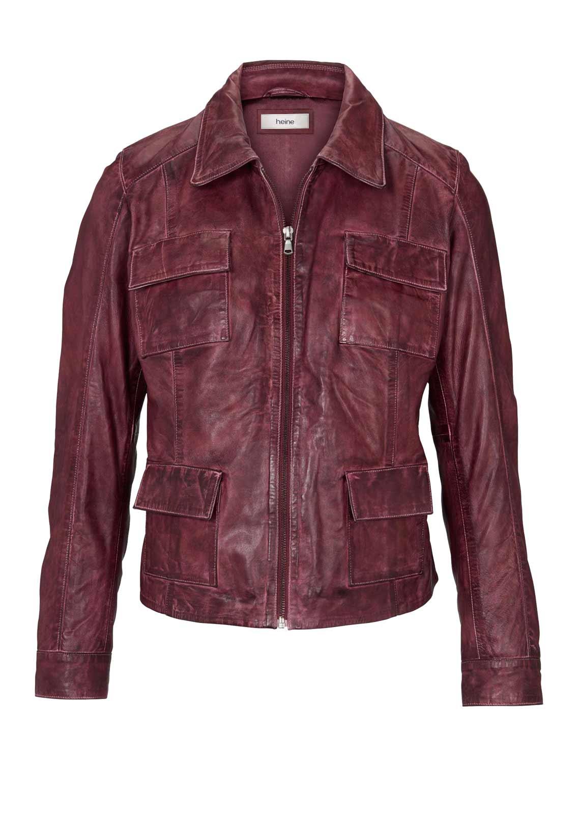 jacken auf rechnung bestellen als neukunde HEINE Damen Designer-Lammnappalederjacke Bordeaux 267.378 MISSFORTY