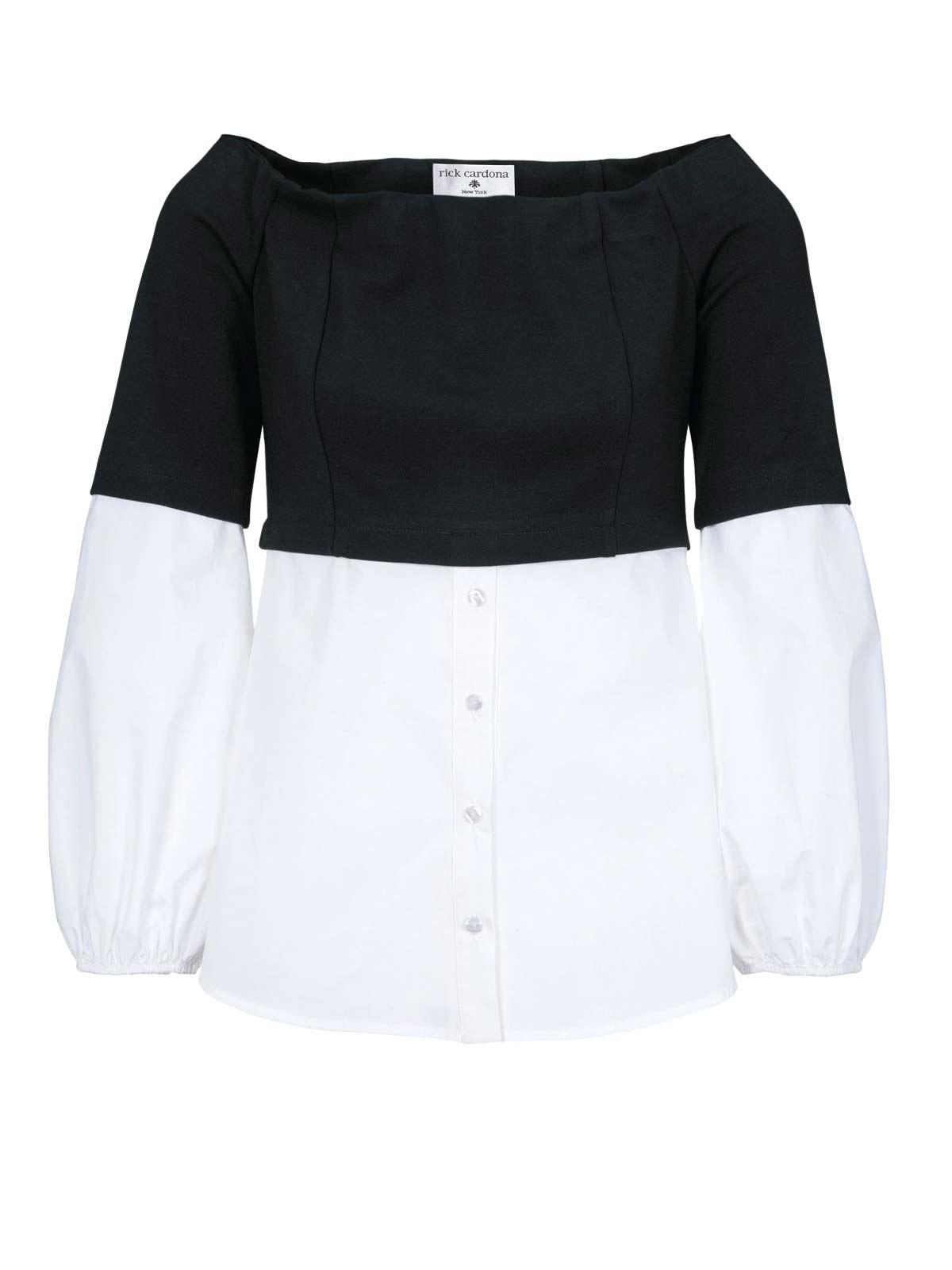 sweatshirts auf rechnung RICK CARDONA Damen Designer-2-in-1-Blusen-Sweatshirt Schwarz-Weiß 306.134 MISSFORTY