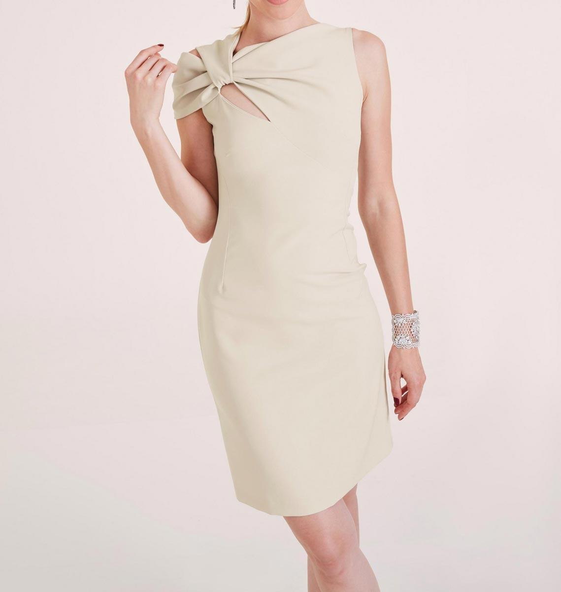 business kleider für damen HEINE Damen Designer-Drapé-Etuikleid Creme 343.531 Missforty