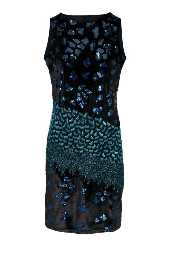 kurzes kleid für besondere anlässe ASHLEY BROOKE Damen Designer-Cocktailkleid m. Pailletten Schwarz-Bunt 358.742 Missforty