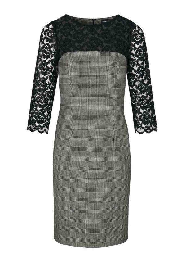 business kleider für damen Patrizia Dini Etuikleid mit Spitze schwarz-offwhite 361.167 Missforty
