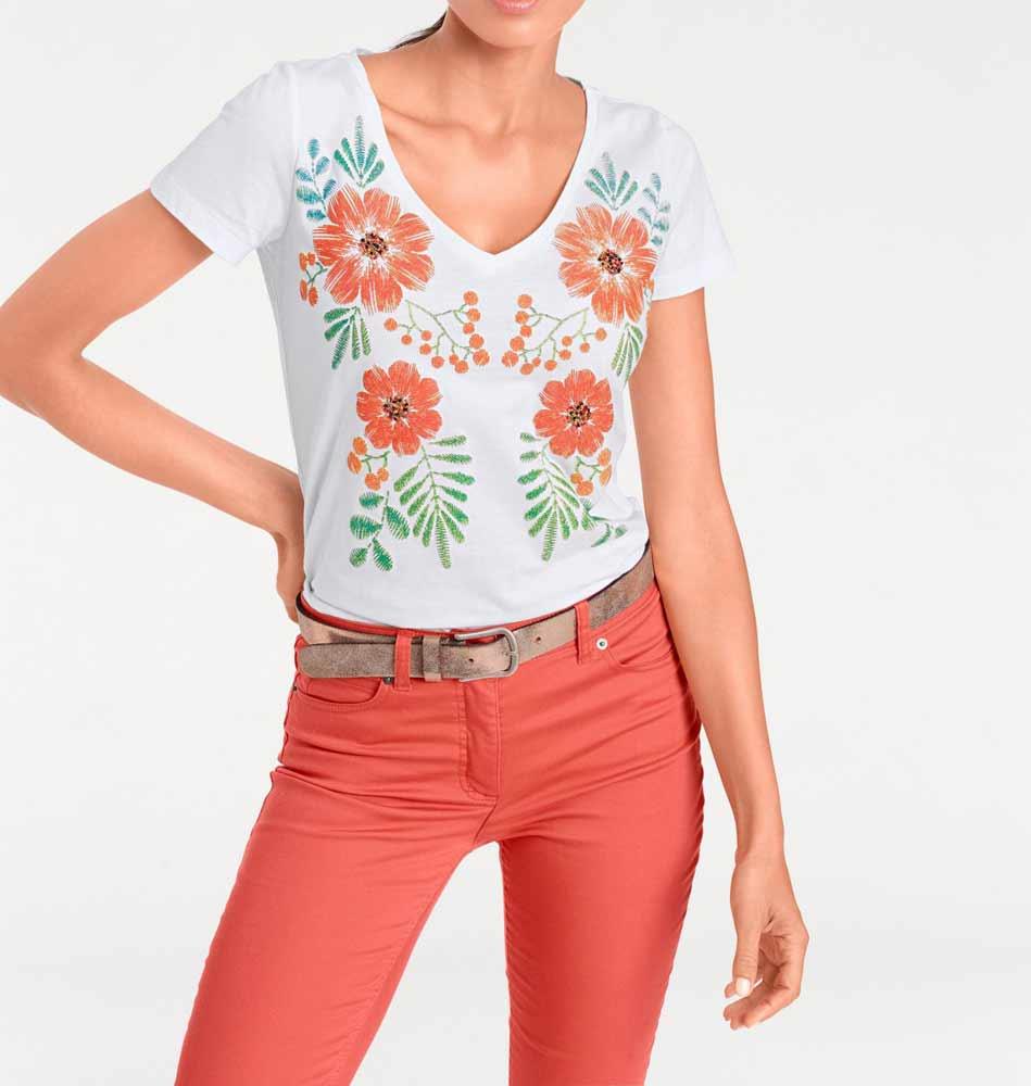455.303 Ashley Brooke Shirt mit Perlenstickerei, weiß-bunt