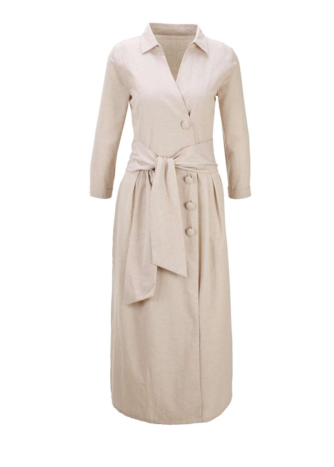 wadenlange kleider für besondere anlässe HEINE Damen Designer-Leinenkleid Sommerkleid Midikleid Bindegürtel Beige 455.741 missforty