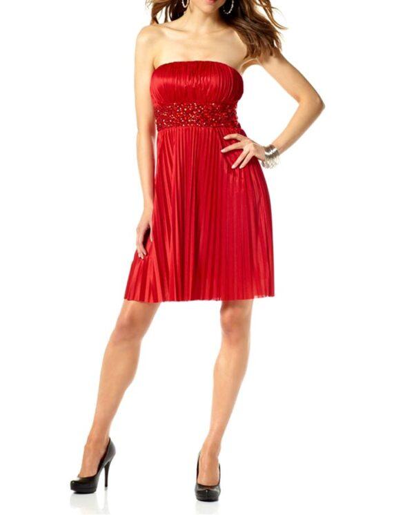 kurzes kleid für besondere anlässe Cocktailkleid m. Steinen, rot von Laura Scott Evening Grösse 44 458.316 Missforty