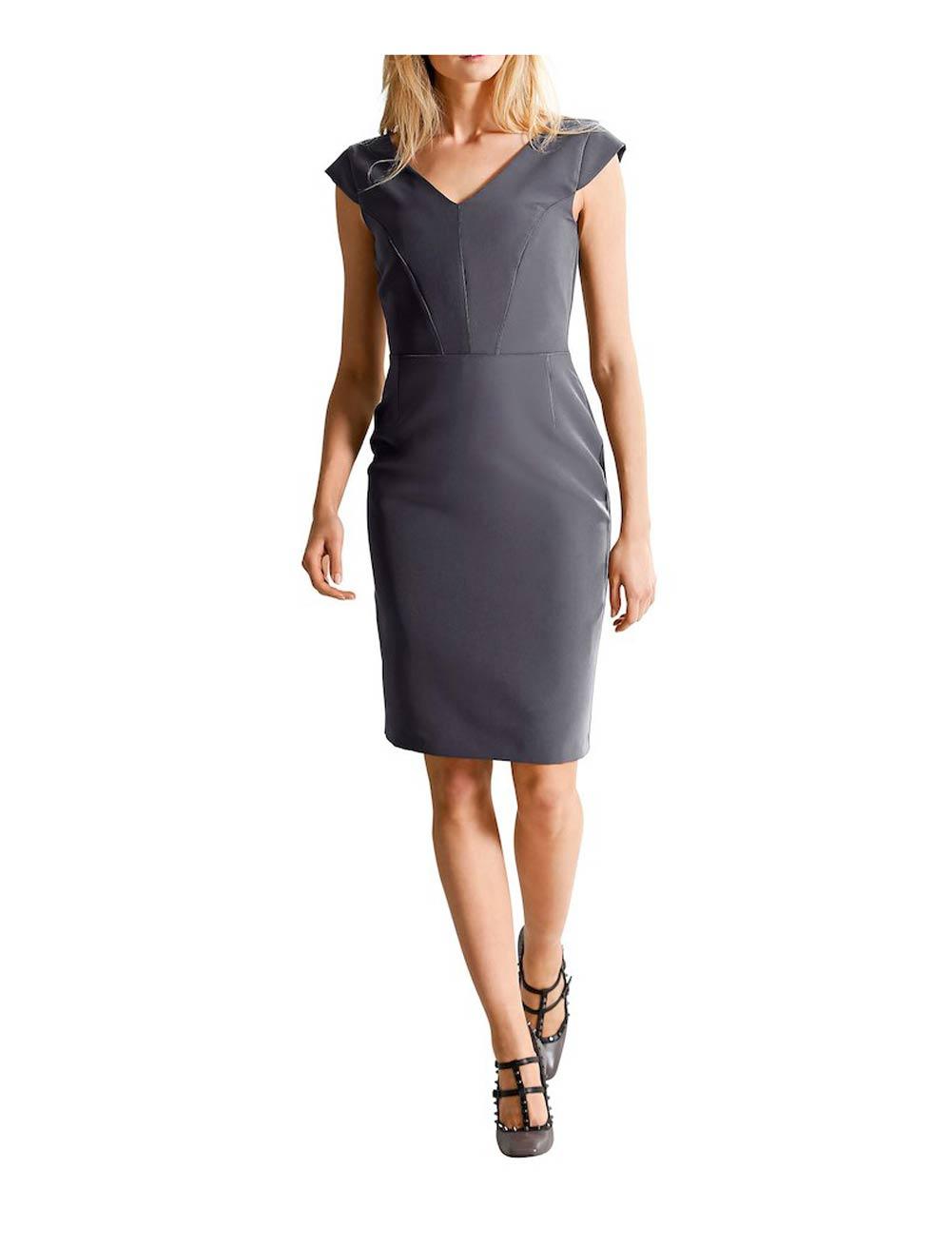 business kleider für damen ALBA MODA Damen Designer-Etuikleid Grau 461.785 Missforty