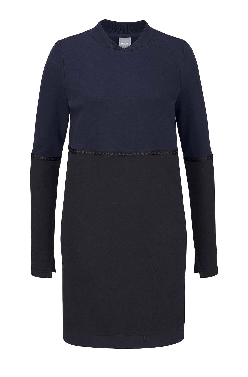 sweatshirts auf rechnung BENCH Damen-Sweatkleid Sweatshirt Kleid m. Taschen Navy-Schwarz 486.531 MISSFORTY