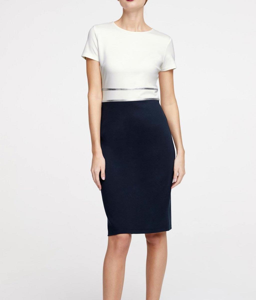 business kleider für damen HEINE Damen Designer-Etuikleid Ecru-Marine 497.829 Missforty