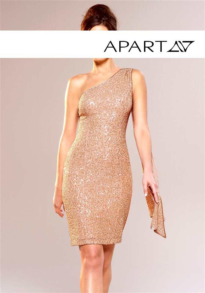 kurzes kleid für besondere anlässe Paillettenkleid mit Schal nude von APART Grösse 36 505.229 Missforty