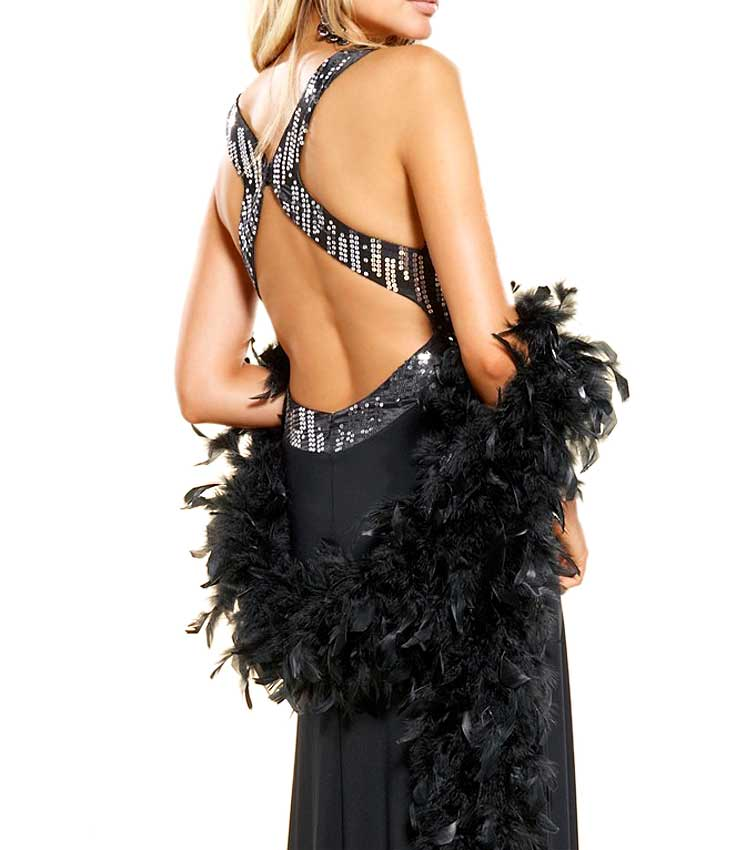 Festmoden APART Damen Designer-Abendkleid m. Pailletten Schwarz 505.828 Missforty