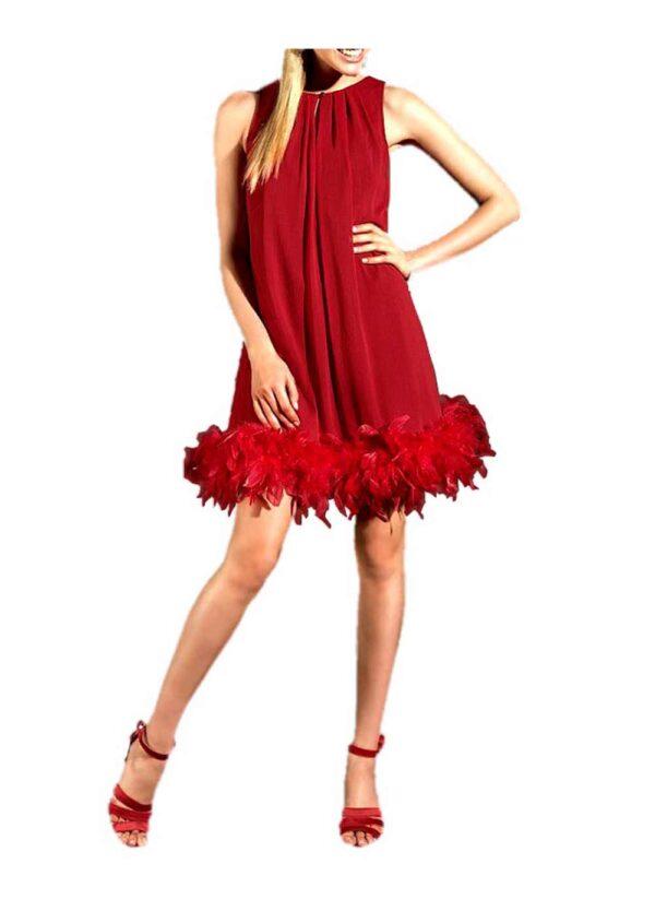 kurzes kleid für besondere anlässe Chiffon-Abendkleid mit Federboa rot von APART Grösse 34 514.877 Missforty