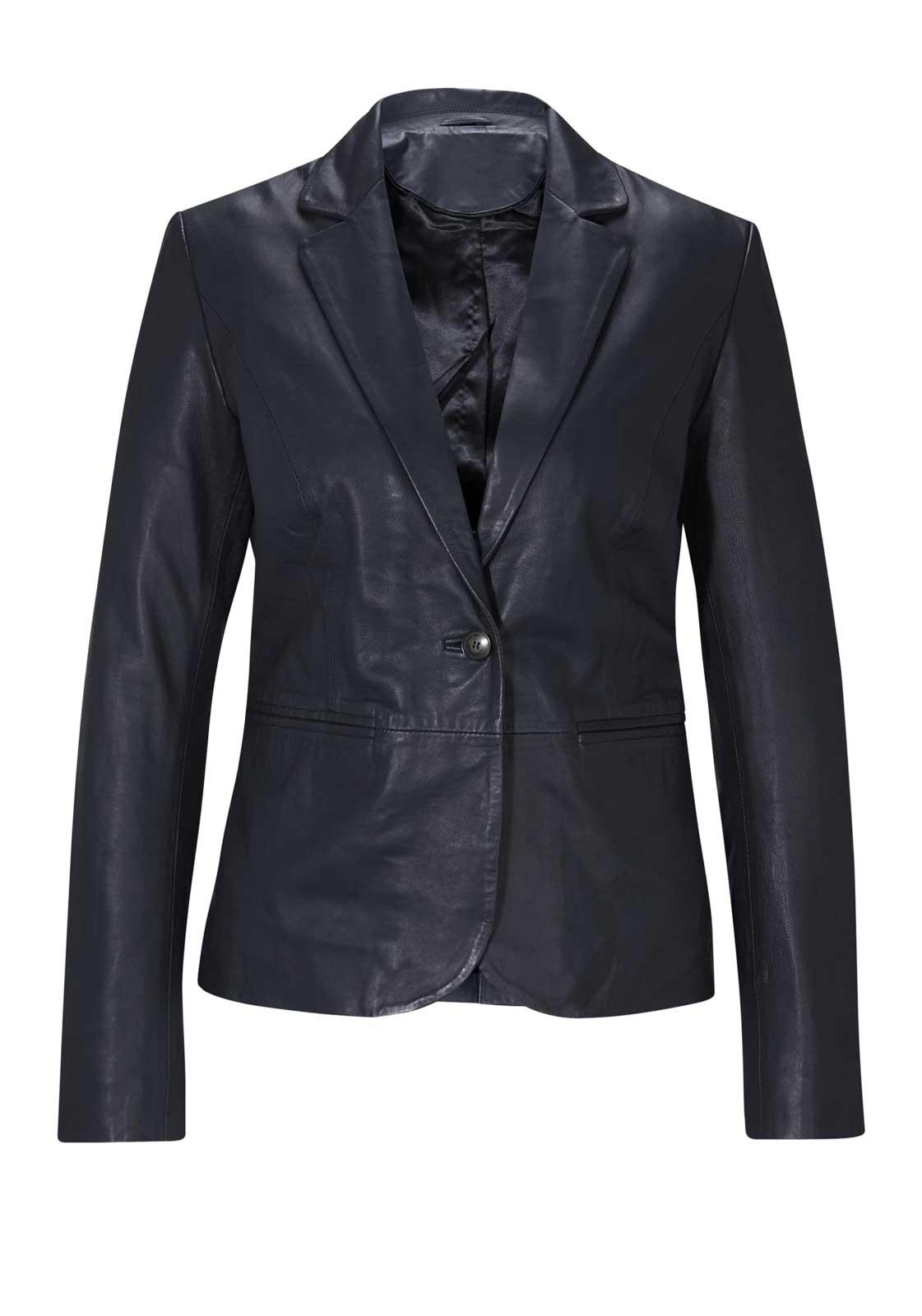 jacken auf rechnung bestellen als neukunde HEINE Damen Designer-Lammnappalederjacke Marine Blau Echtleder Blazer Optik TOP 515.948a MISSFORTY