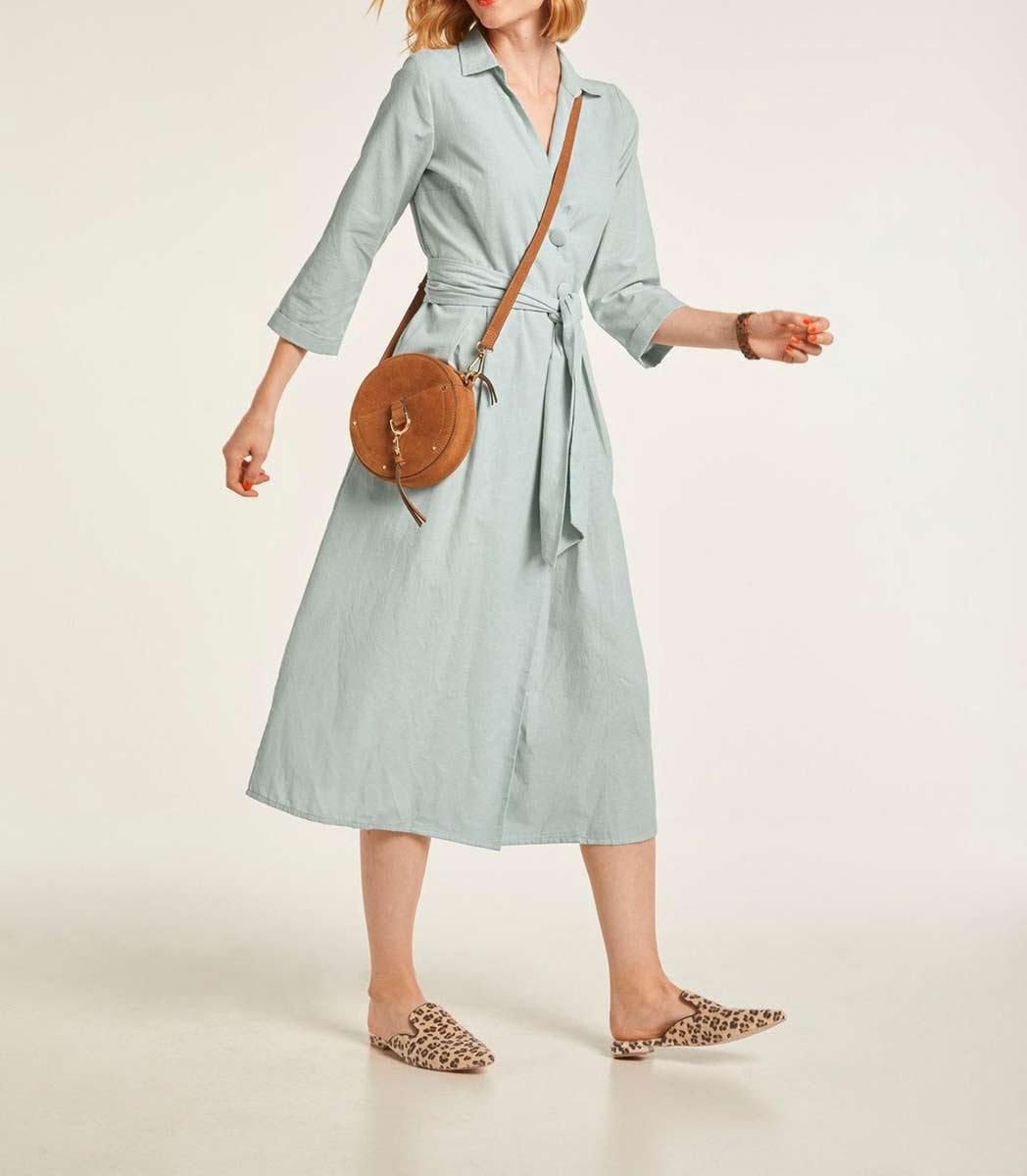 wadenlange kleider für besondere anlässe HEINE Damen Designer-Leinenkleid Bindegürtel Sommerkleid Midikleid Pastell Mint 520.532 missforty