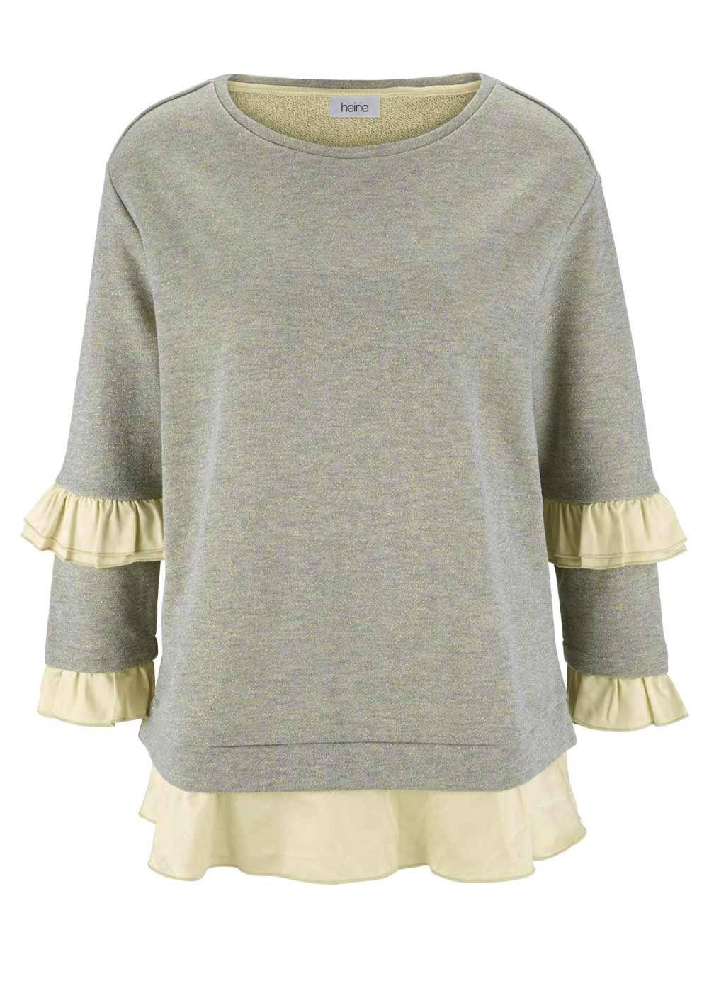 t shirts ohne ärmel HEINE Damen Designer-Sweatshirt m. Volants Beige-Goldfarben 541.979 Missforty