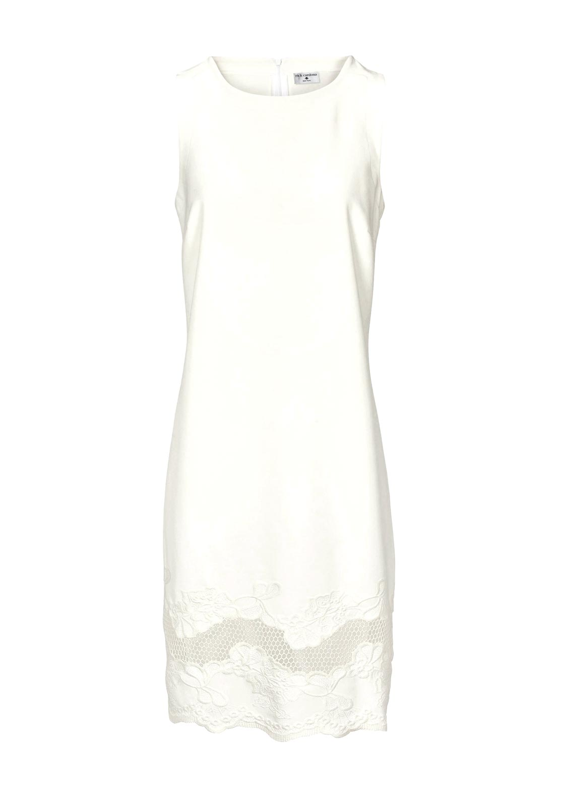 business kleider für damen RICK CARDONA Damen Designer-Etuikleid m. Stickerei Ecru 560.872 Missforty